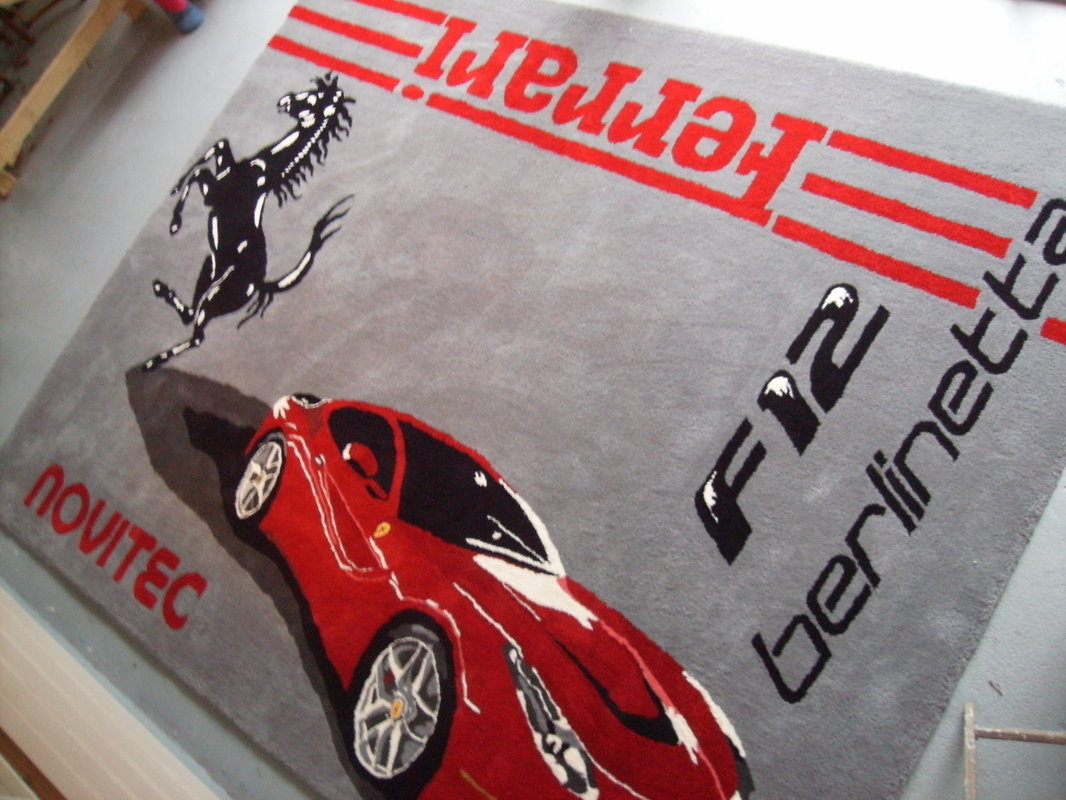 Ferrari F12 Berlinetta Wool Rug Custom Hand Made In USA Prancing Horse Novitec