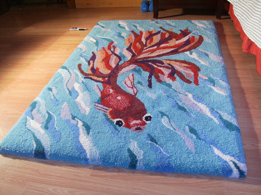 Tropical Fish Wool Area Art Rug Hand Made in USA